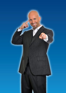 Comedy Stage Hypnotist Erick Kand on blue background